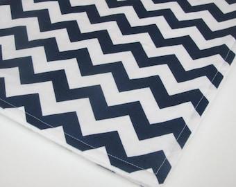 Chevron Minky Baby Blanket, Navy Blue and White