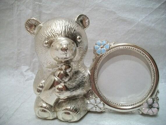Vintage Silver Bear Bank and Frame, Nursery Gift, Baby Shower Gift, Heavy Metal Bear Figurine