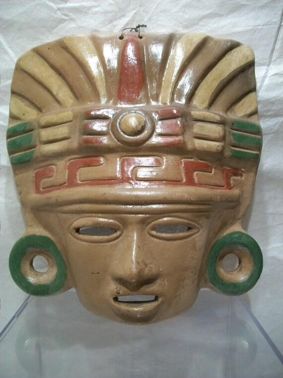 Aztec Clay Mask Rustic Garden Art Mayan Art Mask Large Clay