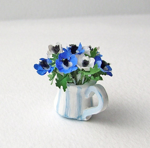 Anemones in a shabby chic striped jug in miniature, 12th, one inch scale