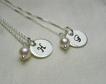 Bridesmaid Jewelry Set of 4 Initial Necklace Bridesmaid Gift Monogram Necklace Personalized Necklace Bridal Party Gifts Bridesmaid Necklace