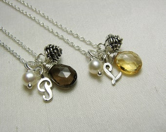 Initial Necklace Bridesmaid Jewelry Personalized Bridesmaid Gift Citrine November Birthstone Necklace Pine Cone Necklace Rustic Wedding