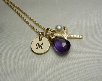 Gold Initial Necklace Birthstone Necklace Mothers Necklace Gold Cross Necklace Personalized Necklace Confirmation Gift Baptism Jewelry Gift