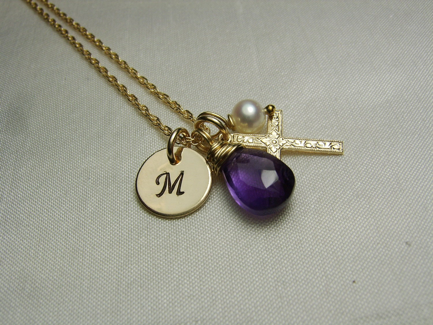 gold initial necklace birthstone necklace mothers necklace. Black Bedroom Furniture Sets. Home Design Ideas