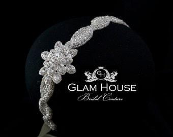 Bridal Head piece, Crystal headband,Wedding Headband, Wedding Head Piece, beaded Headband,brooch head piece