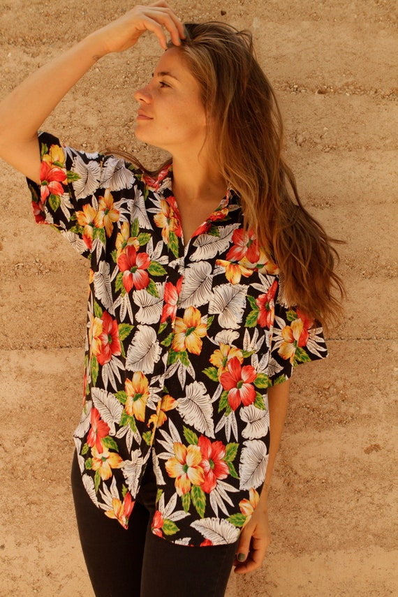 SILKY slouchy HAWAIIAN print oversize black & yellow summer floral wear