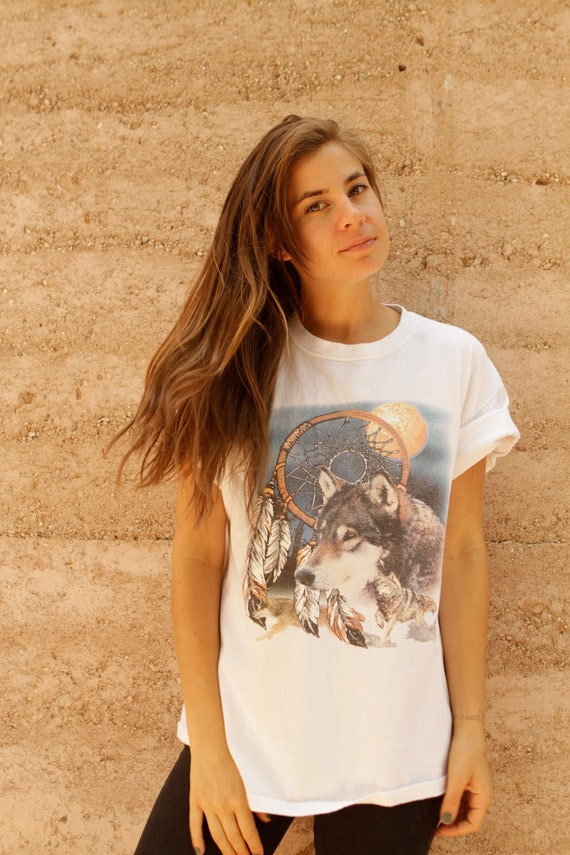 90s wolf DREAMCATCHER native white oversize slouchy SOUTHWEST t shirt top
