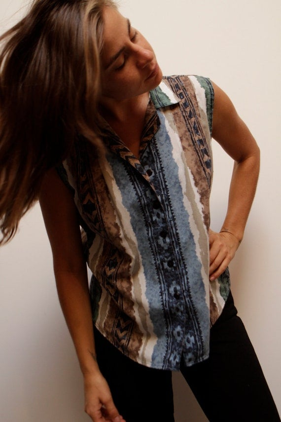 SOUTHWEST collared tank top ikat style NAVAJO print button up vest shirt