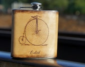 Personalized Stainless Steel & Leather 6oz Flask - Penny Farthing