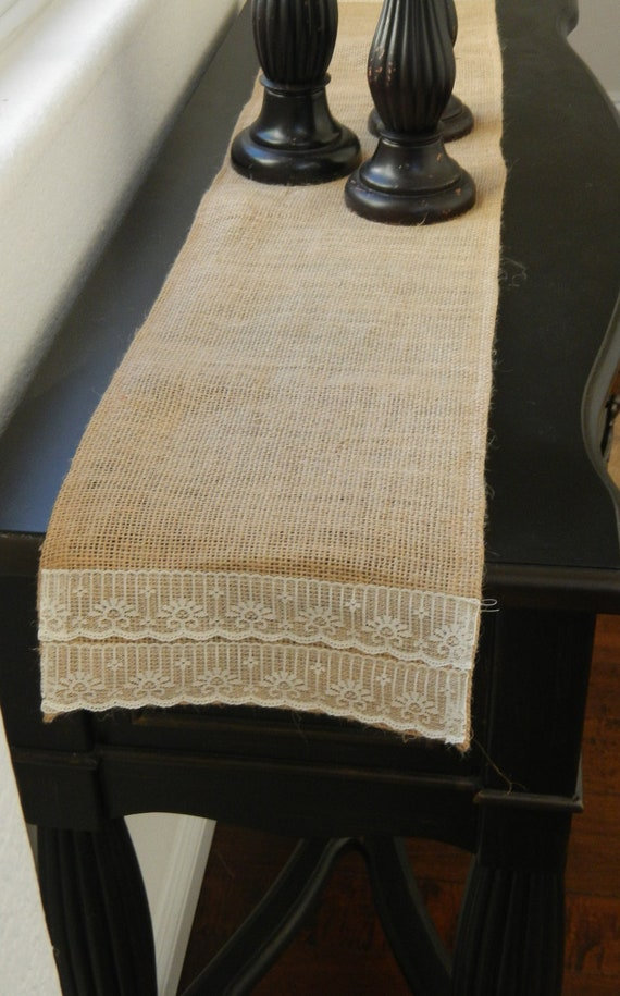 Foyer Table Runner : Burlap table runner with lace custom sizes by lolarosedesigns