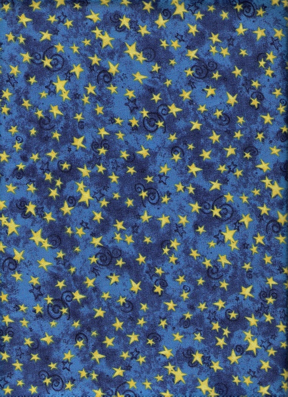 Reserved galaxy blue fabric yellow moon fabric gold stars for Moon and stars fabric