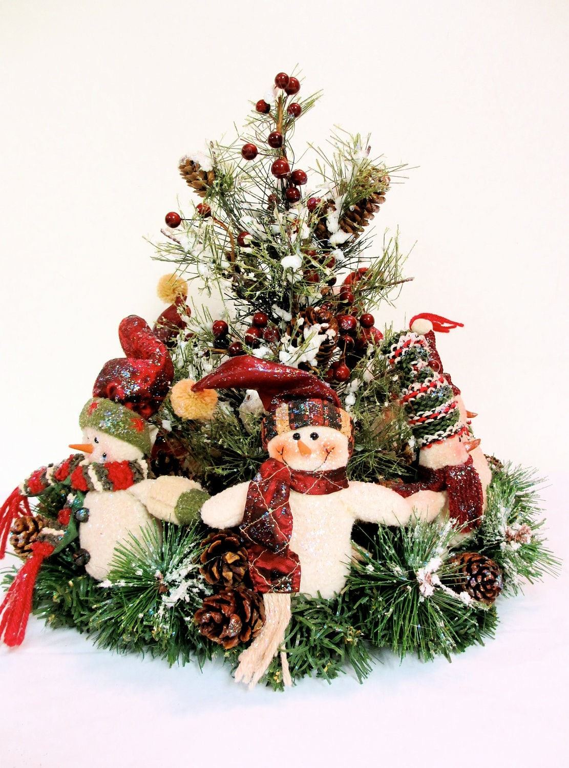 Snowman christmas centerpiece arrangement ring around Christmas table top decorations