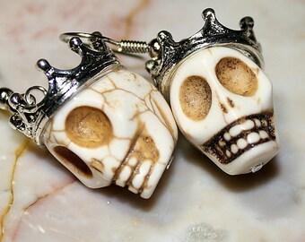 Day of the Dead Dia de los Muertos Traditional King Crown Turquoise Skull Dangle Original Earrings Atlanta Jewelry