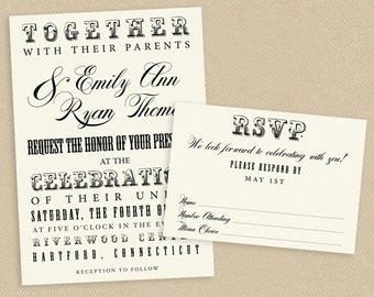 Printable Wedding Invite and RSVP Invitation Set Vintage Poster Style  - Ecru - Typography