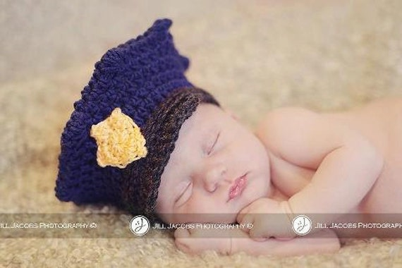 Police Cap Crochet Hat Pattern Multiple Sizes from Newborn through Age 3 (377)