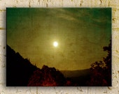 Photograph, moon, columbia gorge hills, Washington,16x24 thin wrap