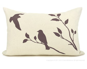 Love birds pillow cover - PERSONALIZED pillow case - Your choice of print color, fabric and size (12x18 or 16x16) - Modern home decor