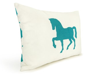 12x18 Turquoise and White Pillow Cover with Horse Print and Ikat Accent - Decorative Throw Pillow Case, Cushion - Southwestern Home Decor