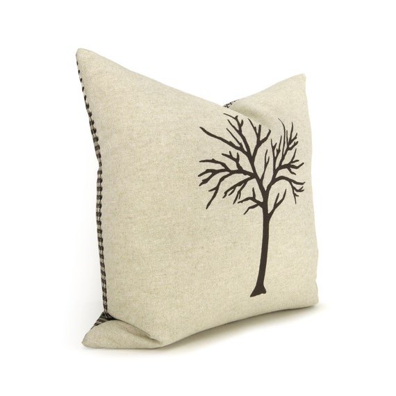 Tree Pillow Case, Dark Brown, Beige and Houndstooth Accent 16x16 inches Cushion Cover | Hand Screen Printed Woodland Decorative Throw Pillow