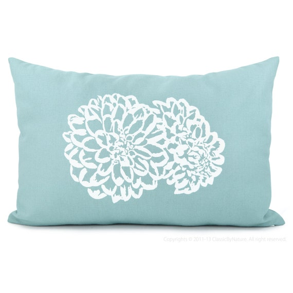 Aqua Blue Floral Cushion Cover | Decorative Throw Pillow Case for Chair & Couch with white flowers | 12x18 Lumbar Pillow | Shabby Chic Decor