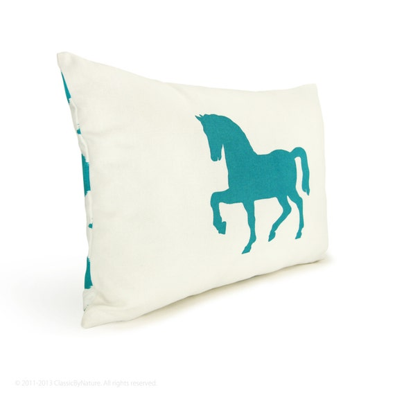 12x18 Turquoise & White Pillow Cover with Horse Print and Ikat Accent - Decorative Throw Pillow Case, Cushion - Southwestern Home Decor