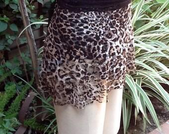 Dance Ballet Short Wrap Skirt in Dark Animal Print on Lace