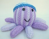 Purple Stripey Octopus, Cute Hand Knitted Stuffed Toy/Plushie/Mascot