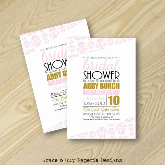 Bridal Shower Invitation - Pink and Gold Invitation - Pink Damask