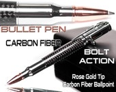 Handmade Bullet Pen  Bolt Action carbon fiber and gun metal 30 caliber make it unique hunters shooters gift with case