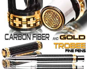 Best gift : Carbon Fiber Pen Rollerball with gold and platinum Expensive but worth every penny-  gift for him