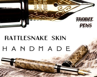 Rattlesnake Fountain Pen Handcrafted Pen Unique writing instrument with Aston Leather Pen Sleeve