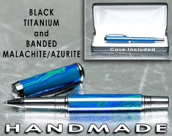 Handmade rollerball pen Unique Malachite and Azurite TruStone made by hand to be a luxury writing instrument
