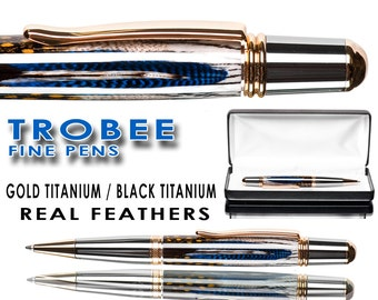 Handmade real high end feather ballpoint pen custom built and cast in pen resin with caseblack titanium and 22kt gold