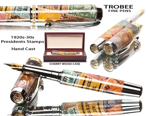 Postage stamp pen fountain style writing instrument