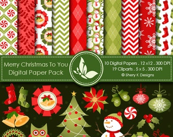 Merry Christmas to You -10 Digital papers 12 x12 300 DPI - 19 Cliparts 5 x5 300 DPI