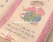 Half Yard - Kawaii Linen Cotton Blended Fabric - Teddy Bear