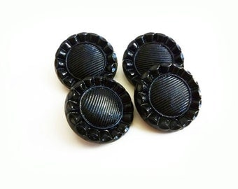 3 Antique Black Glass Buttons