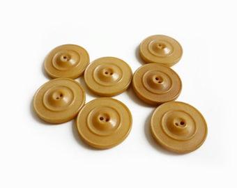 7 Brown Vintage Buttons, Caramel, Beige