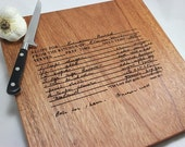 "Your Handwritten Recipe - Custom Engraved Wood Cutting Board  - 16""x 12"""