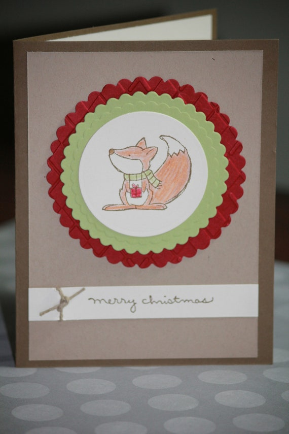 Reserved for nfinley67 Set of Six Handmade Christmas Cards Holiday Cards Merry Christmas Fox