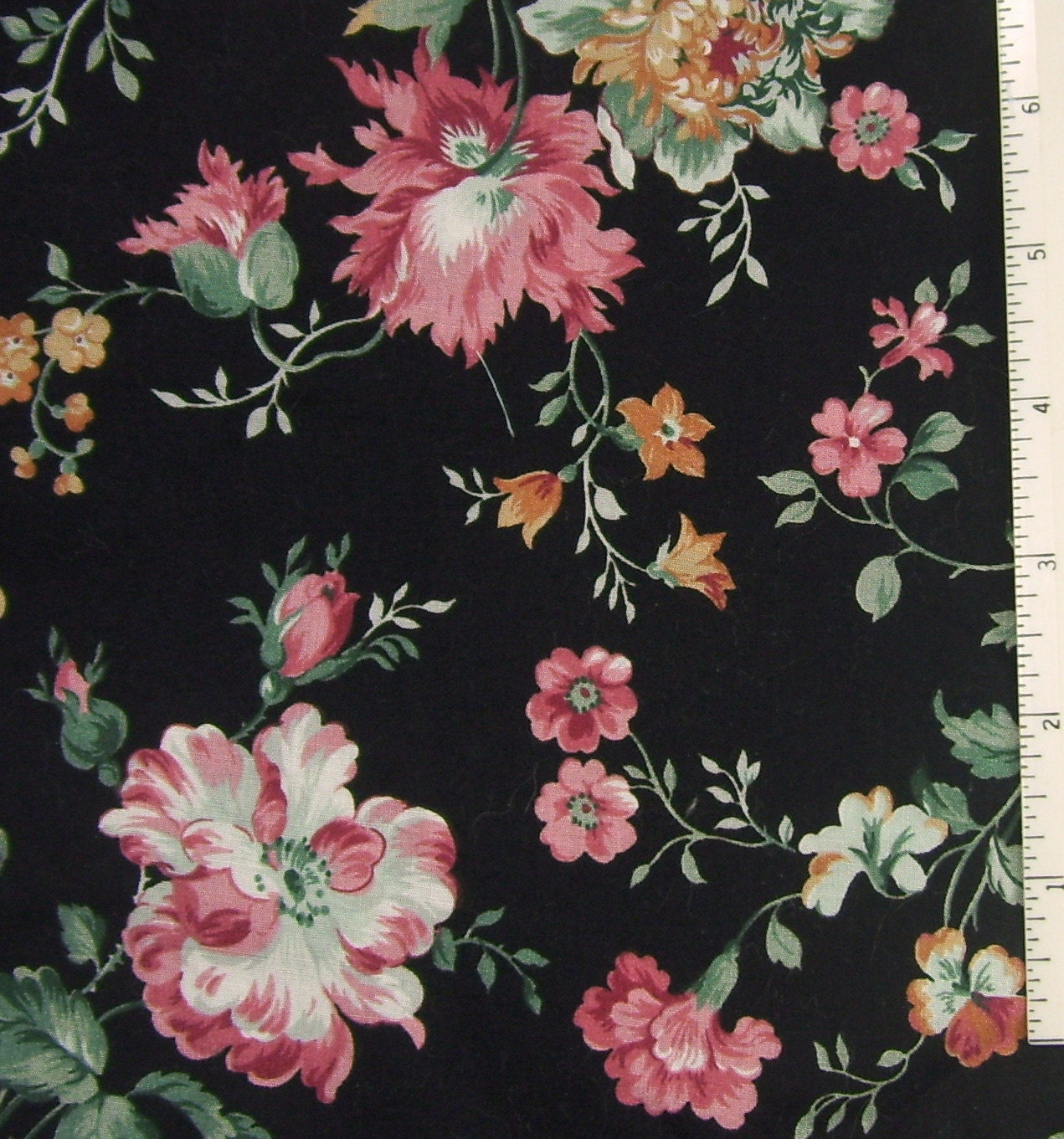Fabric Cotton Black Pink Rose Floral Print Lightweight