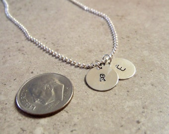 Custom Hand Stamped Small Initials Necklace