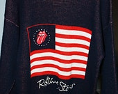 Vintage Rolling Stones,  Steel Wheels Tour, 1989, Knit Sweater, 1989, Tongue & Lips Logo on American Flag  Size Medium  ON SALE FROM 275