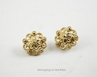 Vintage Trifari Earrings, Clipback, Goldtone,  Flower Swirl Pattern, Pristine  No. 38
