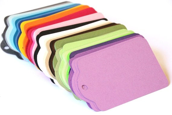 CHOOSE YOUR COLORS - 25 Die Cut Gift Tags / Price Tags (3 x 2 inches) in Smooth Cardstock