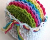 Crochet Scrubbies with Crochet Basket - Set of 7  - Rainbow Colors - 100% Cotton