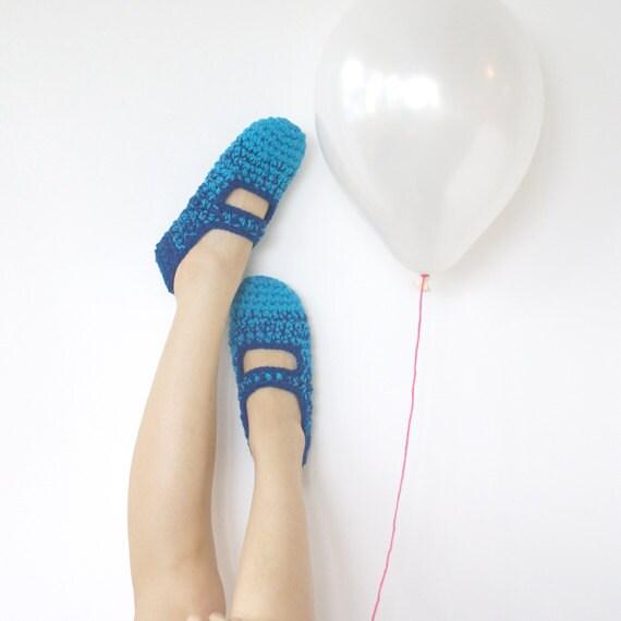 Last Pair SALE - Blue Lagoon: Women's Crochet Mary Jane Slipper Socks