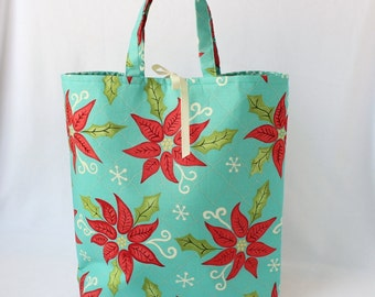 Fabric Gift Bag with Handles Large - Turquoise Deck the Halls by Heather Mulder Peterson of Anka's Treasures for Henry Glass