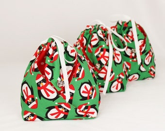 Origami Gift Bag -  Santa Penguin by Ann Kelle Jingle for Robert Kaufman