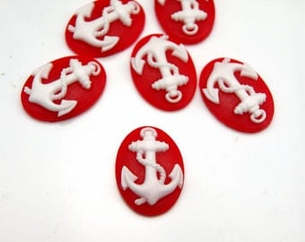 6pcs 18x25mm Resin Flower Cabochon Camo Covers White   Anchor on Red  Base
